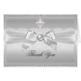 Elegant Pearl Bow & Cross Thank You Card