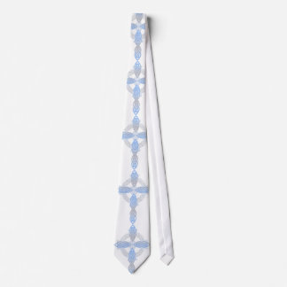 Elegant Pearl Celtic Cross Necktie
