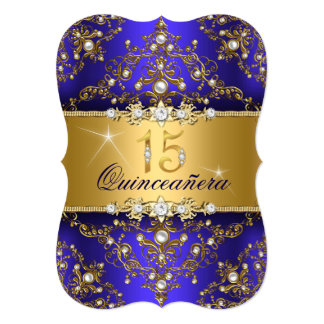 Elegant Pearl Damask Royal Blue Quinceanera 5x7 Paper Invitation Card