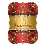 Elegant Pearl Damask Ruby Red Quinceanera Card