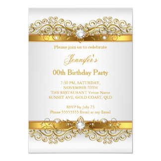Silver White Gold Birthday Party Invitations Announcements Zazzle - Birthday invitation gold coast