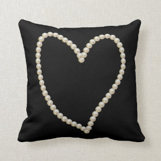 Elegant Pearl Heart Throw Pillow