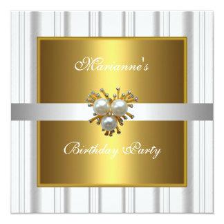 Elegant Pearl Jewel Birthday Gold & White Metal Card