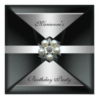 Elegant Pearl Jewel Birthday Silver & White Invitation