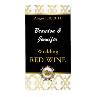 Elegant Pearl Monogram Wedding Mini Wine Labels