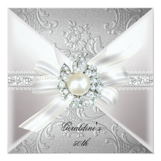 Elegant Pearl White Silver 50th Birthday Party Card