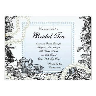 Elegant Pearls Baby Blue Bridal Tea 5.5x7.5 Paper Invitation Card
