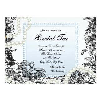 Elegant Pearls Baby Blue Bridal Tea Card