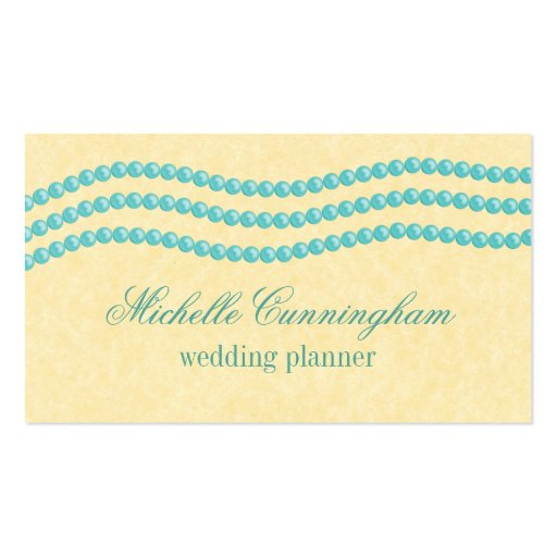 Elegant Pearls Business Card, Turquoise Double-Sided Standard Business Cards (Pack Of 100)