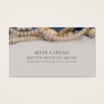 Beach Themed Elegant Pearls & Sea Shells Beach Refer a Friend Business Card