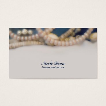 Beach Themed Elegant Pearls & Sea Shells Beachy Chic Business Card