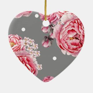 Elegant Peonies Floral Ceramic Ornament