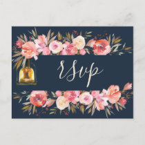 Elegant Peonies Rustic Lanterns Navy Coral Wedding Invitation Postcard