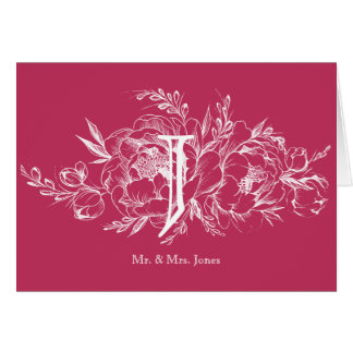 Elegant Peony in White Wedding Thank You Card