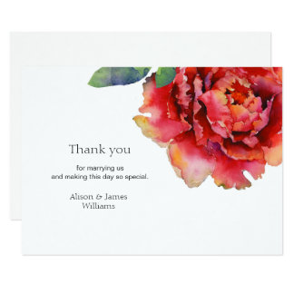 Elegant peony wedding thank you card