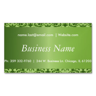 Elegant Peridot Green Damask Business Card Magnet