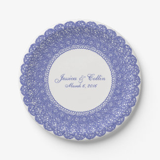 Elegant periwinkle & white lace doily plate