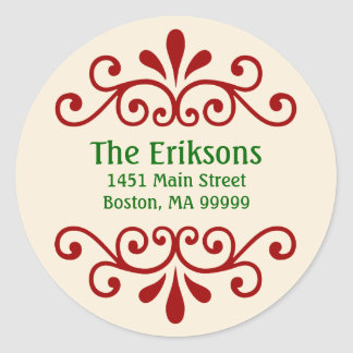 Elegant Personalized Christmas Address Labels Classic Round Sticker