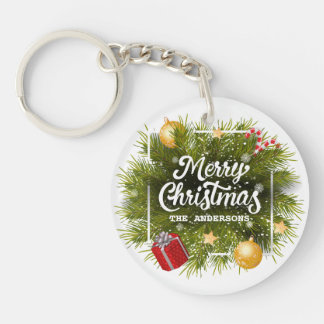 Elegant Personalized Christmas Tree Keychain