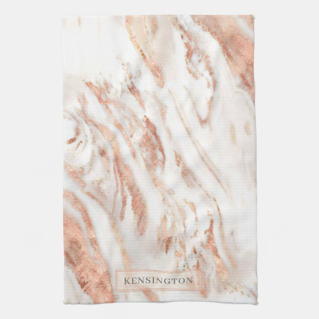 Elegant Personalized Copper Marble Rose Gold Kitchen Towel Zazzle Com