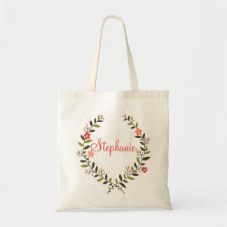 Elegant Personalized Floral Wreath Tote Bag