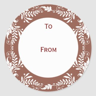 Elegant Personalized Gift Tags Brown sticker