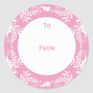 Elegant Personalized Gift Tags Pink sticker