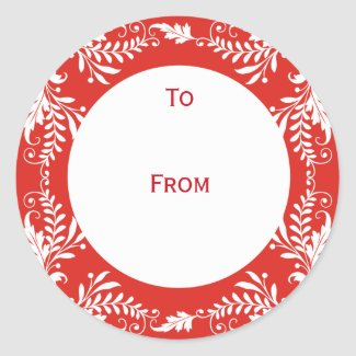 Elegant Personalized Gift Tags Red sticker
