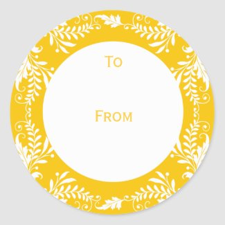 Elegant Personalized Gift Tags Yellow sticker