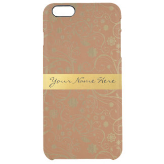 Elegant Personalized Gold and Brown Floral Pattern Clear iPhone 6 Plus Case