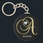 "Elegant Personalized Gold Monogrammed Letter A Keychain<br><div class=""desc"">Lovely key chain with gold letter &#39;A&#39; monogram design with faux diamond heart.  Editable template - add name or delete.  Perfect gift for any occasion!</div>"