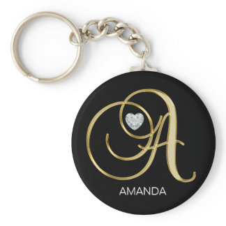 Elegant Personalized Gold Monogrammed Letter A Keychain