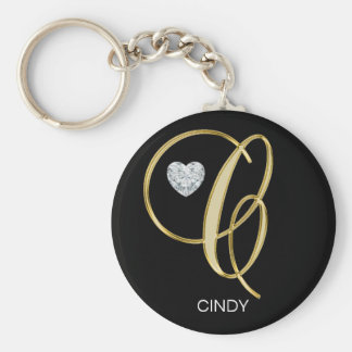 Elegant Personalized Gold Monogrammed Letter C Keychain