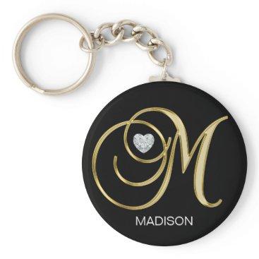Elegant Personalized Gold Monogrammed Letter M Keychain