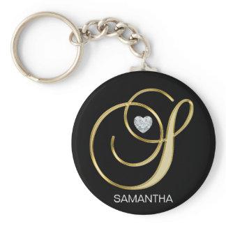 Elegant Personalized Gold Monogrammed Letter S Keychain