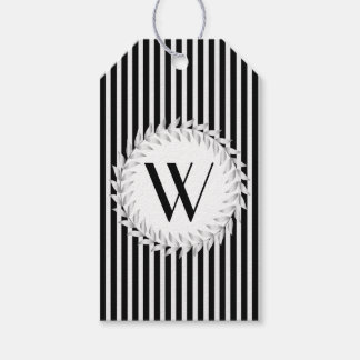 Elegant Personalized Monogram and Black Stripes Gift Tags