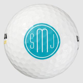 Elegant Personalized Monogram and Scuba Blue Frame Pack Of Golf Balls