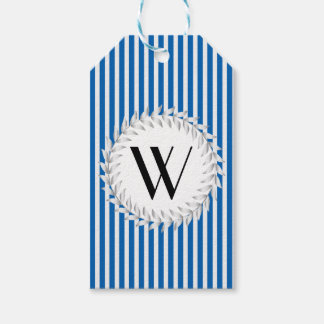 Elegant Personalized Monogram on Blue Stripes Gift Tags