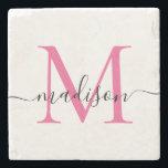 "Elegant Personalized Monogram Script Magenta Pink Stone Coaster<br><div class=""desc"">Elegant Personalized Hot Magenta Pink Monogram Script Name Stylish Stone Coaster</div>"