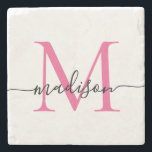 "Elegant Personalized Monogram Script Magenta Pink Stone Coaster<br><div class=""desc"">Elegant Personalized Hot Magenta Pink Monogram Script Name Stylish Stone Coaster</div>"