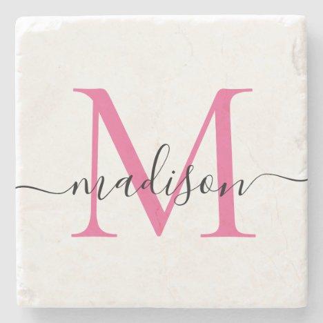 Elegant Personalized Monogram Script Magenta Pink Stone Coaster