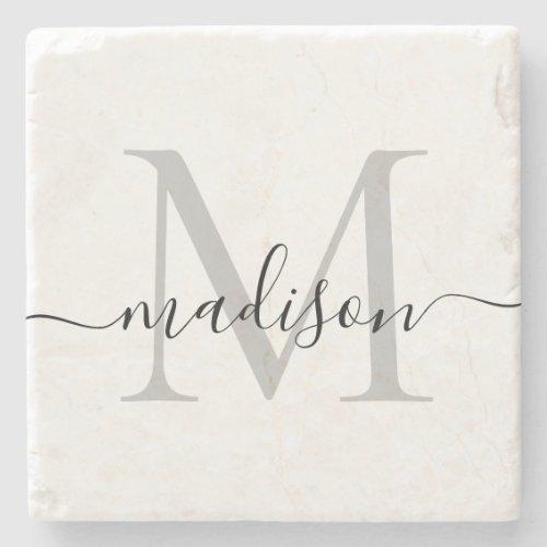 Elegant Personalized Monogram Script Name Stylish Stone Coaster