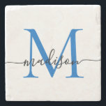 "Elegant Personalized Monogram Script Navy Blue Stone Coaster<br><div class=""desc"">Elegant Personalized Navy Blue Monogram Script Name Stylish Stone Coaster</div>"