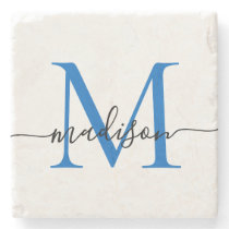 Elegant Personalized Monogram Script Navy Blue Stone Coaster