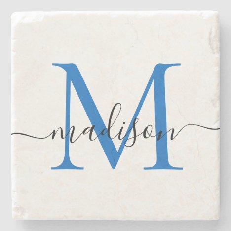 Elegant Personalized Monogram Script Navy Blue Stone Coaster