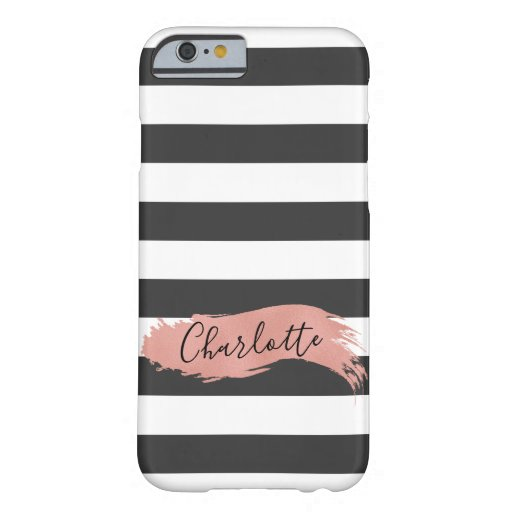 Elegant Personalized Name Rose Gold Brush Stroke Barely There iPhone 6 Case