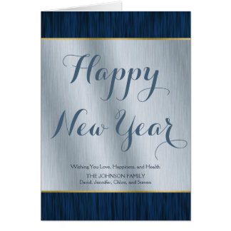 Elegant Personalized Silver and Blue Wood New Year Card