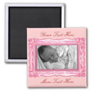 Elegant Petal Pink Frame Magnet