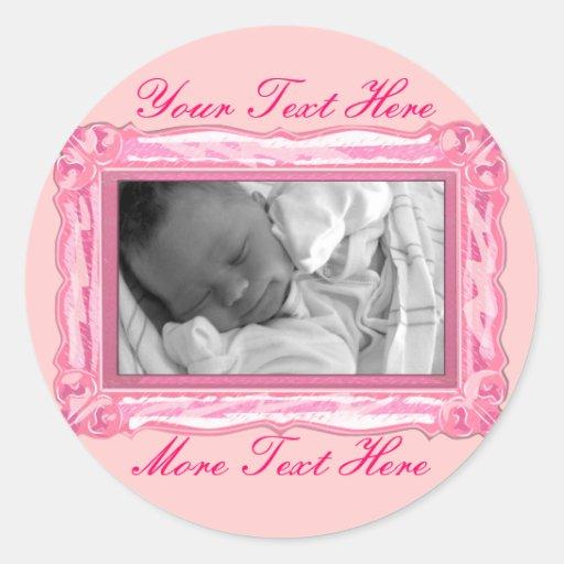 Elegant Petal Pink Frame Stickers