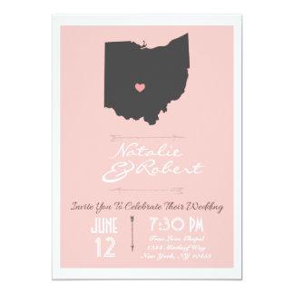 Elegant Petal Pink Ohio State Wedding Invitation